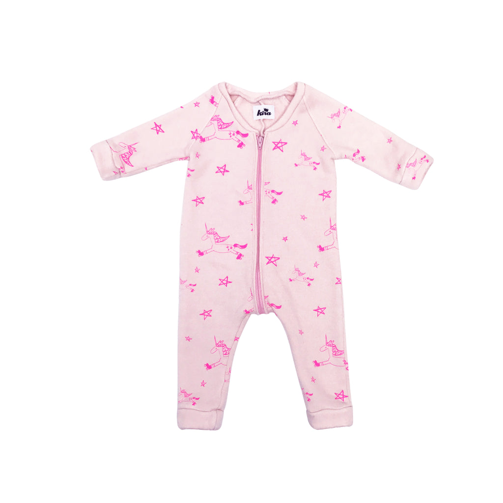 Kira Kids light pink unicorn zipper onesie romper baby babies audrey and olive maternity clothes shop the woods san francisco