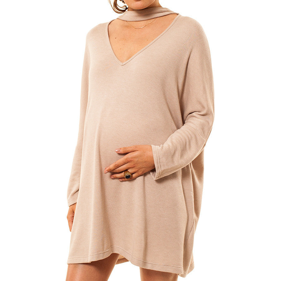 Choker Neck Sweatshirt Dress - maternity friendly