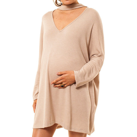 Audrey and Olive maternity clothes 3+1 choker neck cutout sweatshirt dress top