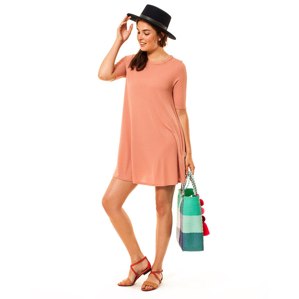 Audrey and Olive 3+1 maternity clothes ribbed stretchy t-shirt tee dress a-line mini pink