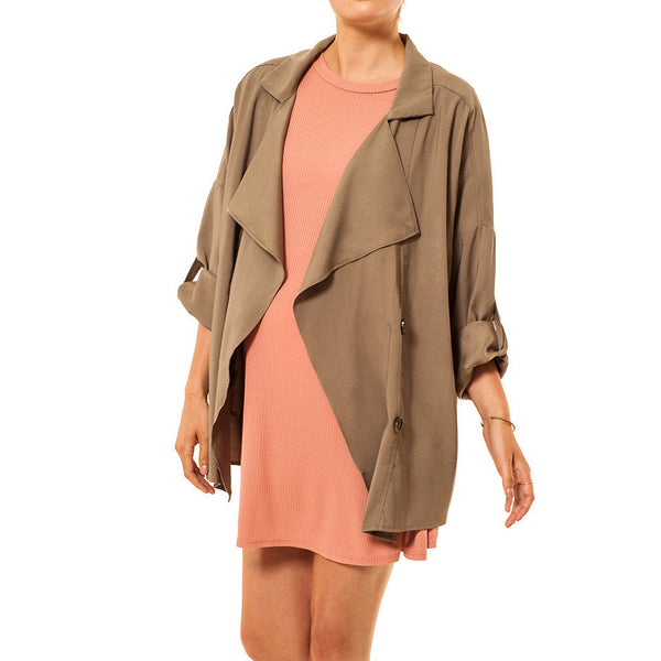 Audrey Olive Maternity open trench coat jacket in khaki or black 3+1