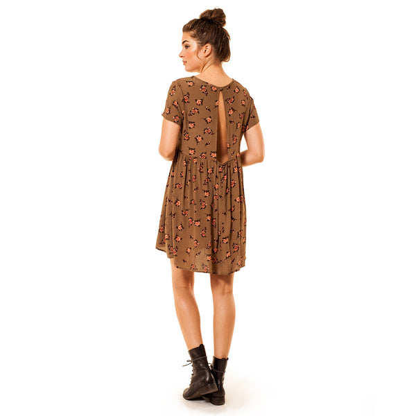 Audrey Olive Maternity Floral empire waist mini dress olive brown 3+1 baby doll