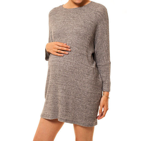 Audrey Olive 3+1 maternity clothes dolman sleeve sweater dress pockets