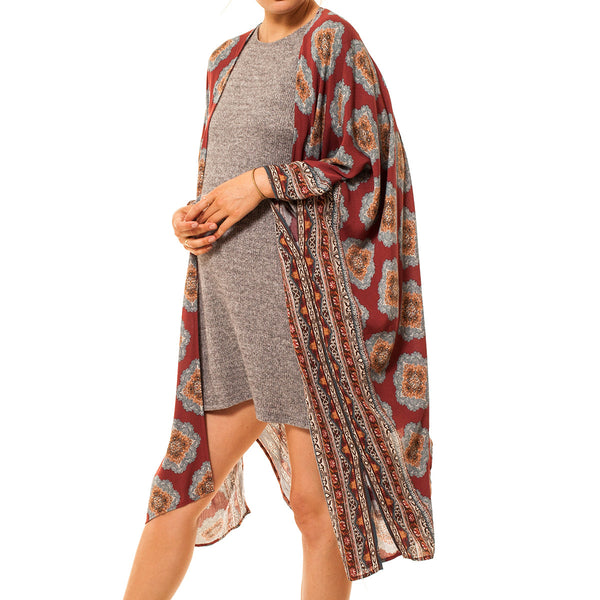 Audrey and Olive 3+1 maternity clothes kimono graphic tribal printed open cardigan wrap sweater