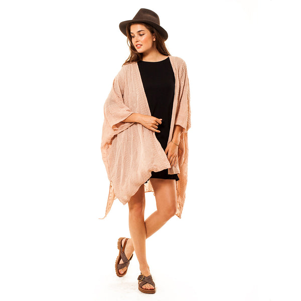 Embroidered Mid-Length Kimono - maternity friendly
