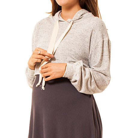 Audrey and Olive maternity clothes 3+1 crop cropped hoodie sweatshirt light grey