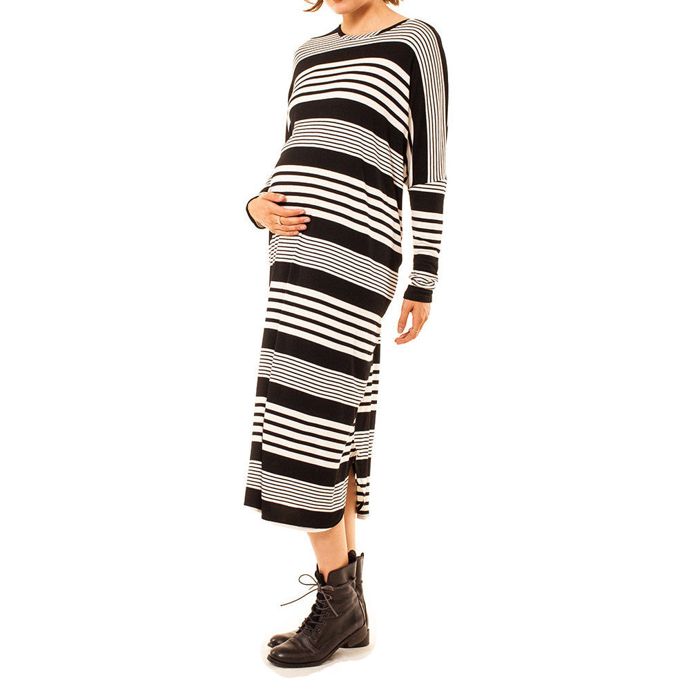 Audrey Olive Maternity striped maxi dolman sleeve t-shirt tee dress black white 3+1