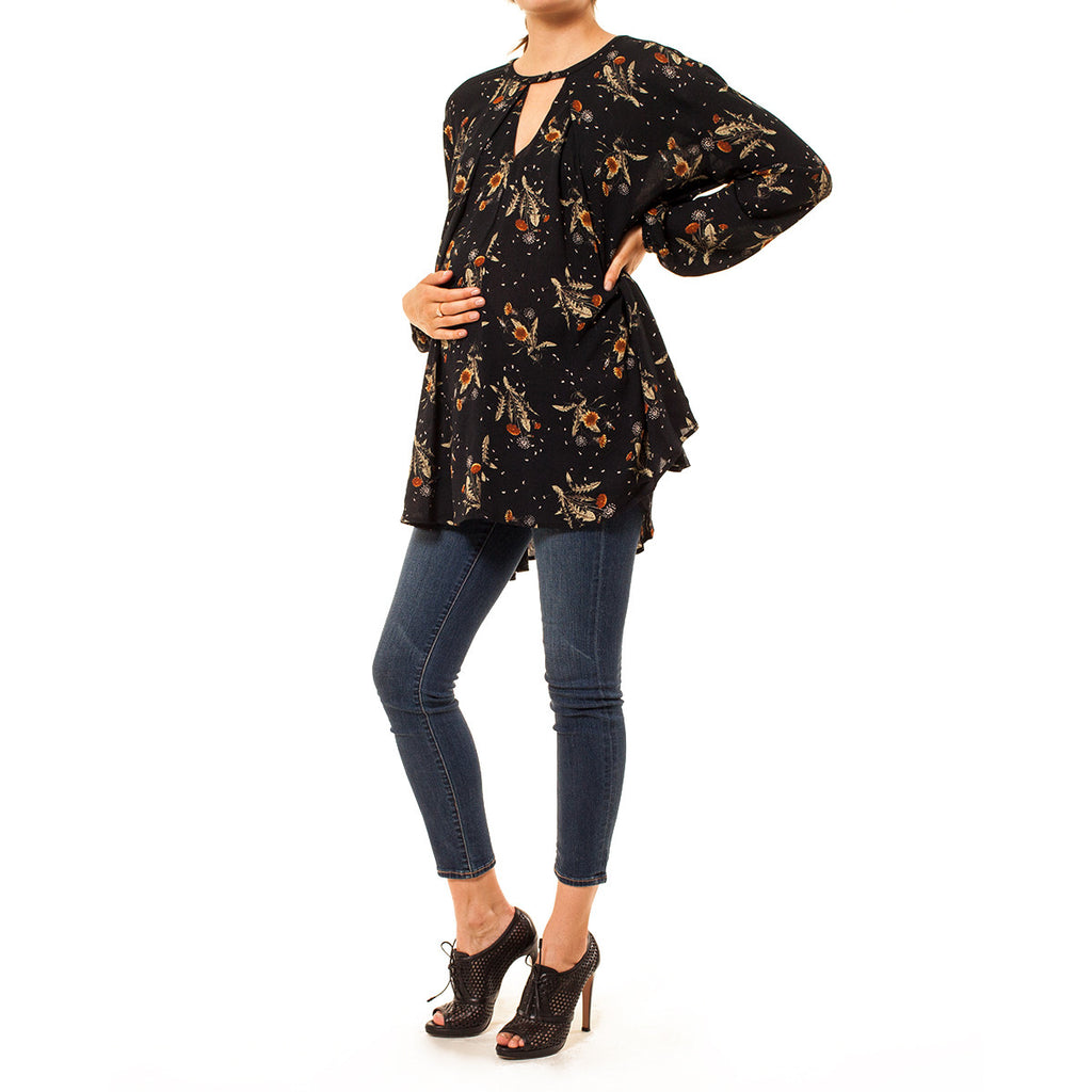 614e86f74d3 ... Audrey Olive Maternity boho dandelion floral swing top dress navy blue  3+1 ...