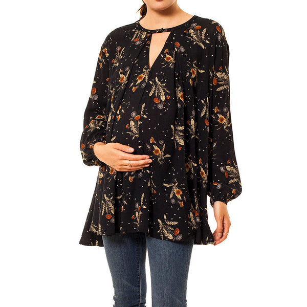Audrey Olive Maternity boho dandelion floral swing top dress navy blue 3+1