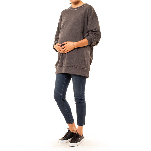 Audrey and Olive 3+1 maternity clothes oversized distressed crew neck sweatshirt