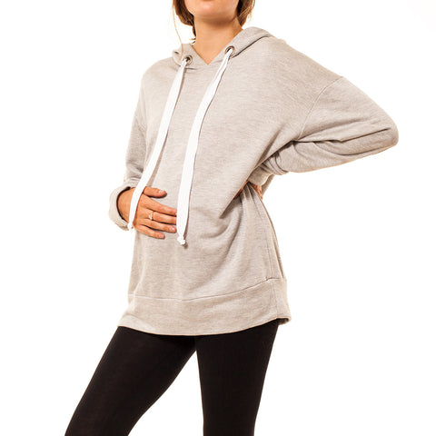 Audrey and Olive 3+1 maternity clothes oversized streetwear hoodie sweatshirt light dark grey