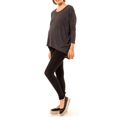 Audrey and Olive 3+1 maternity clothes soft slouch slug pocket sweater dolman sleeves charcoal grey