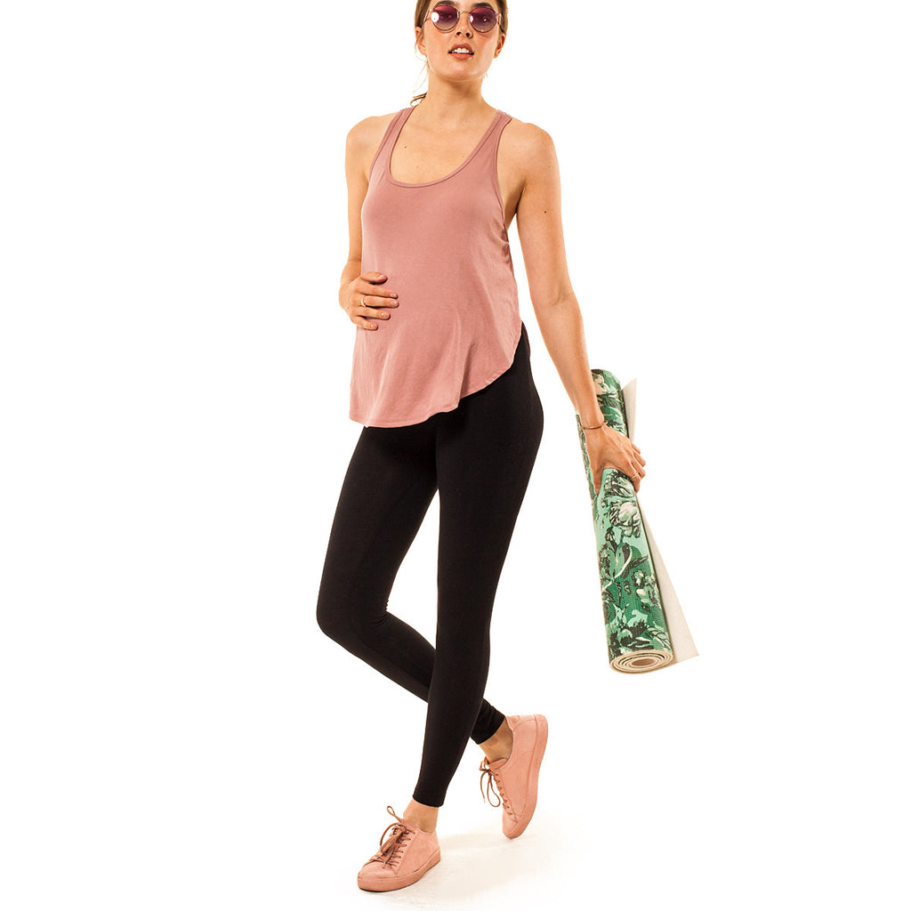 Audrey and Olive 3+1 maternity clothes ribbed stretchy racer back tank top with split sides in pink or black