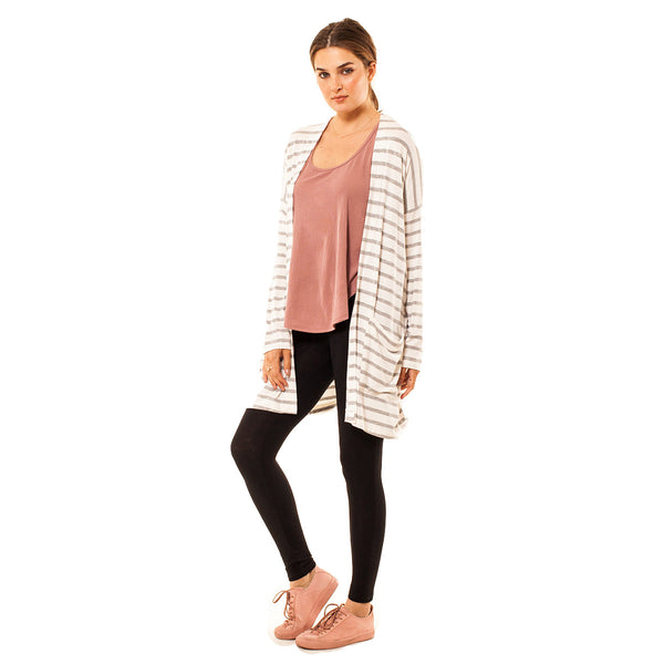 Audrey Olive Maternity striped open cardigan sweater kimono 3+1