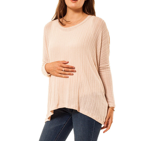 Audrey and Olive 3+1 maternity clothes lightweight ribbed dolman sleeve sweater in pink blush