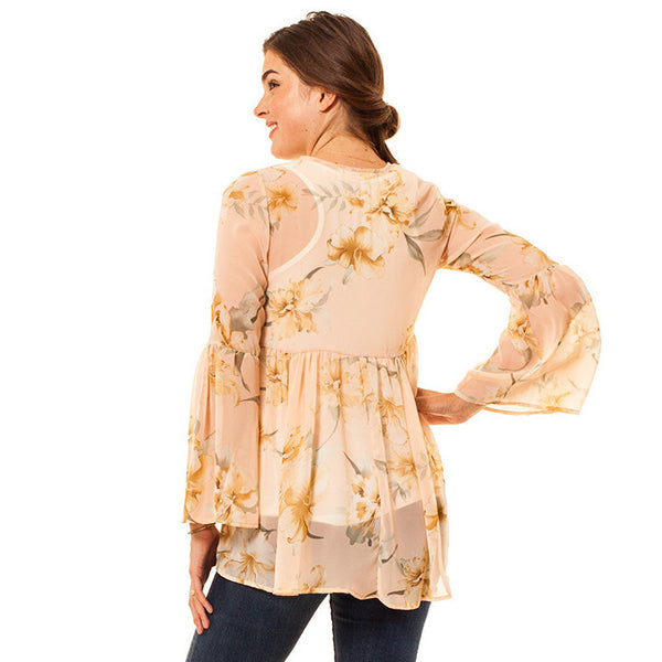 Audrey and Olive 3+1 maternity clothes chiffon peach cream floral bell sleeves top