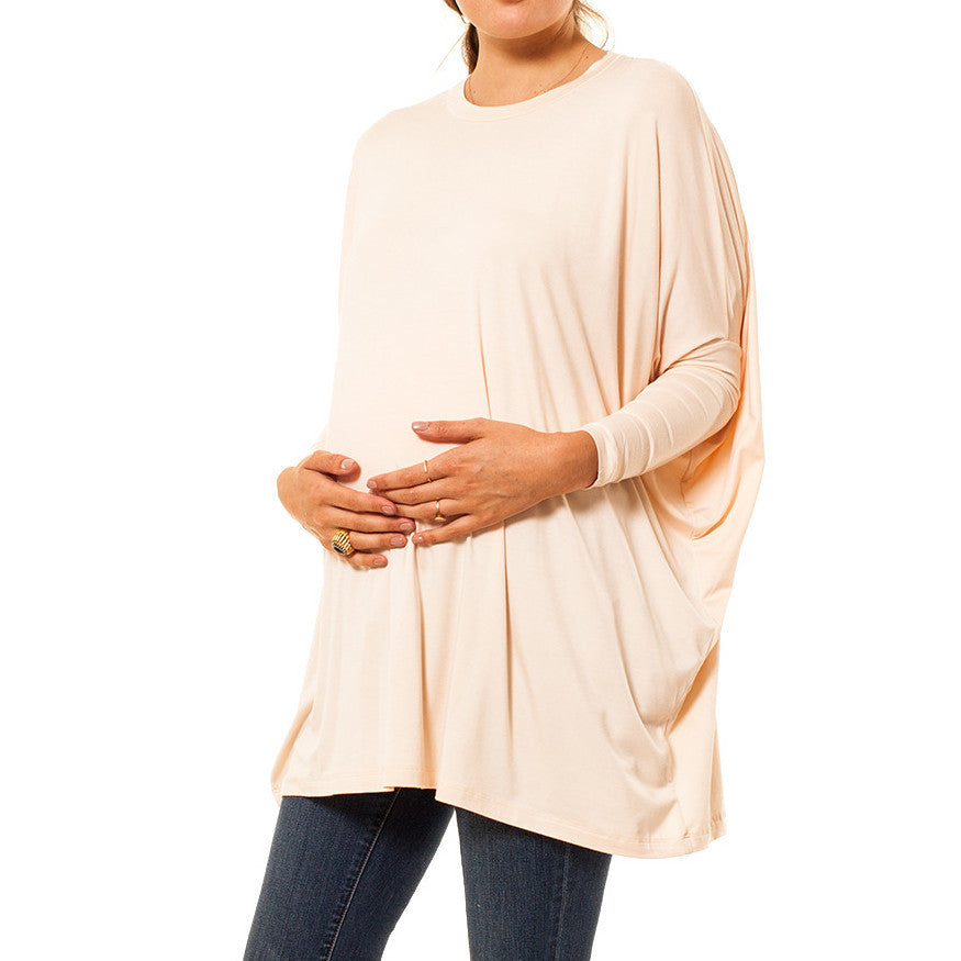 Audrey Olive 3+1 maternity clothes dolman sleeve light pink t-shirt tee dress