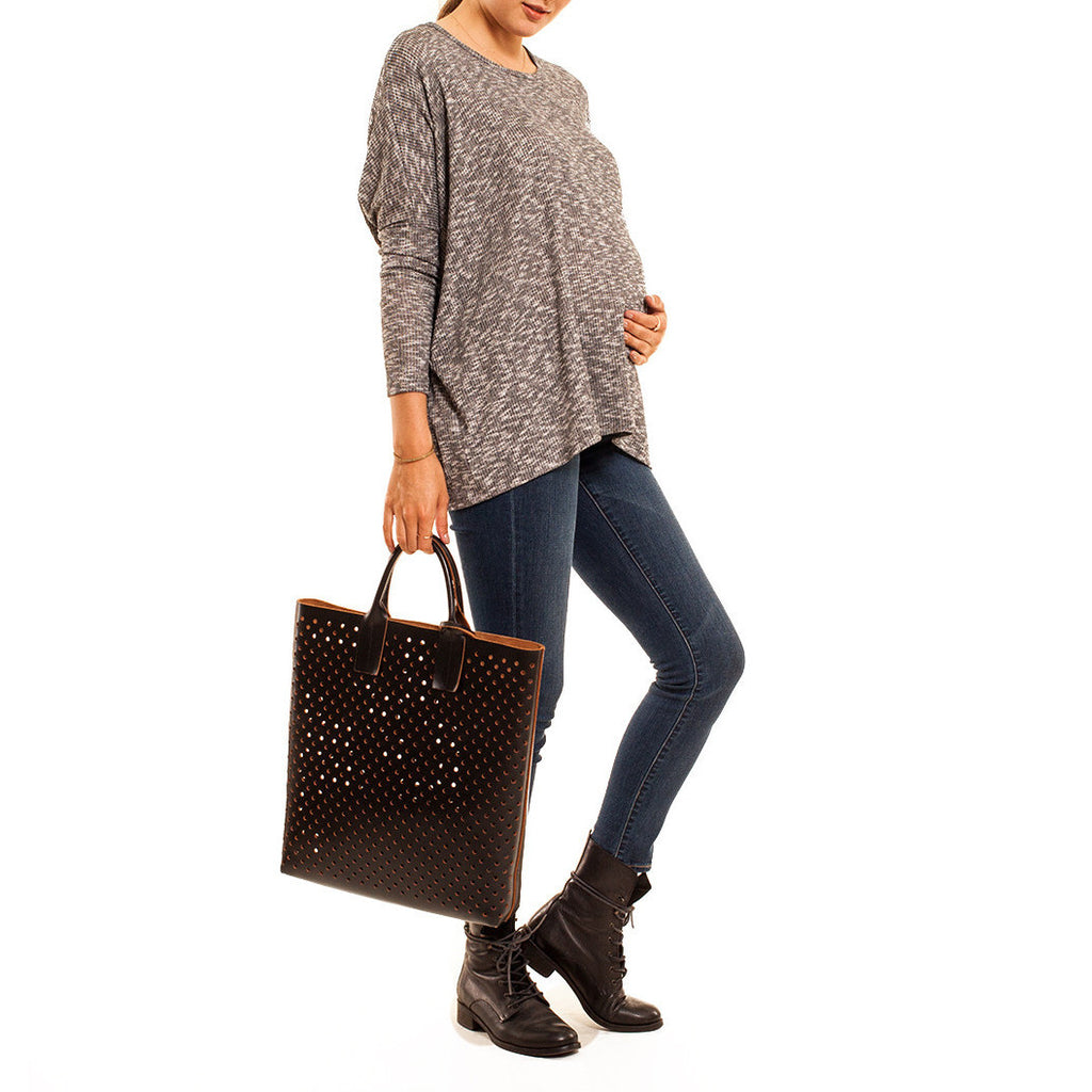 Audrey and Olive 3+1 maternity clothes soft slouch sweater dolman sleeves speckled black white grey
