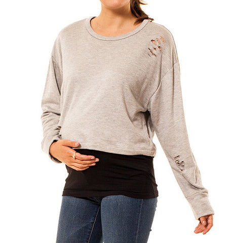 Audrey and Olive maternity clothes 3+1 distressed half crop cropped sweatshirt light grey crew neck long sleeve