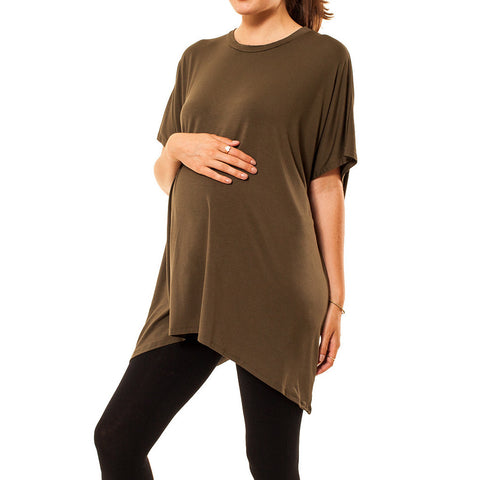Audrey and Olive 3+1 maternity clothes oversized t-shirt dress tee short sleeved olive green