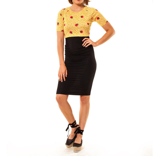 Audrey Olive Maternity cropped top yellow floral 3+1