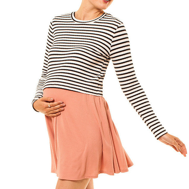 Audrey Olive 3+1 maternity clothes striped long sleeve cropped t-shirt tee