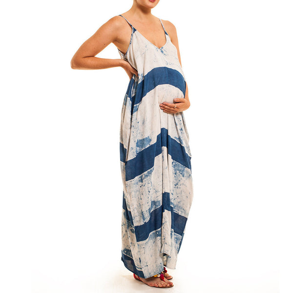 Indigo Print Maxi Dress - maternity friendly