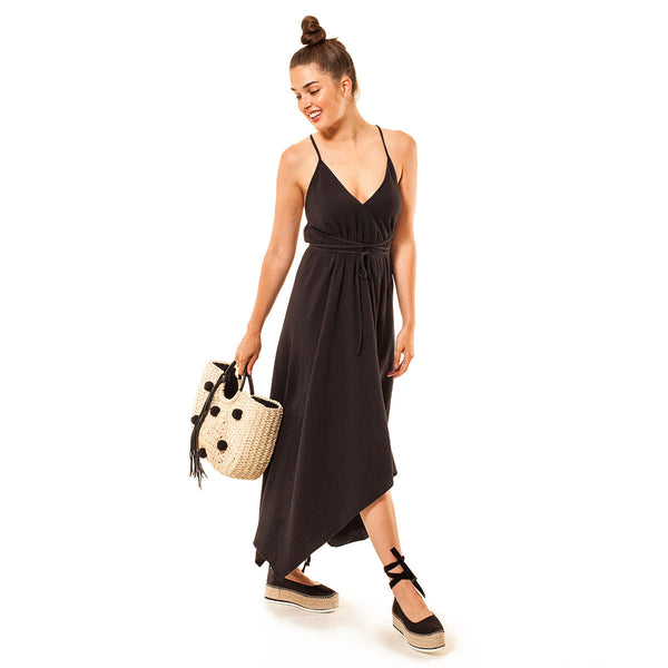Audrey and Olive 3+1 maternity clothes string halter top dress in black cotton gauze handkerchief hem
