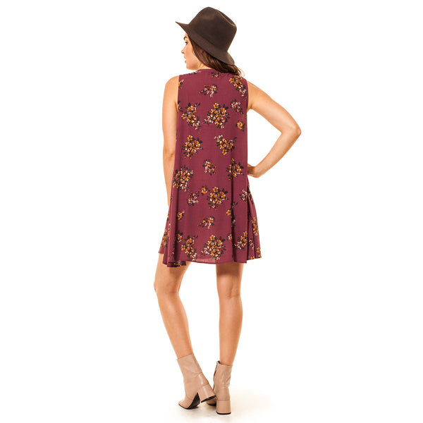 Audrey and Olive maternity clothes 3+1 boho floral sleeveless swing dress a-line burgundy bow