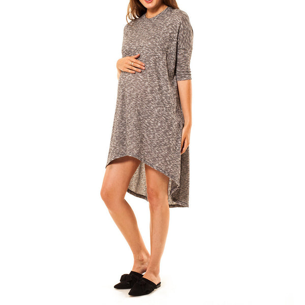 Audrey Olive Maternity high low asymmetric t-shirt tee dress black white heather 3+1