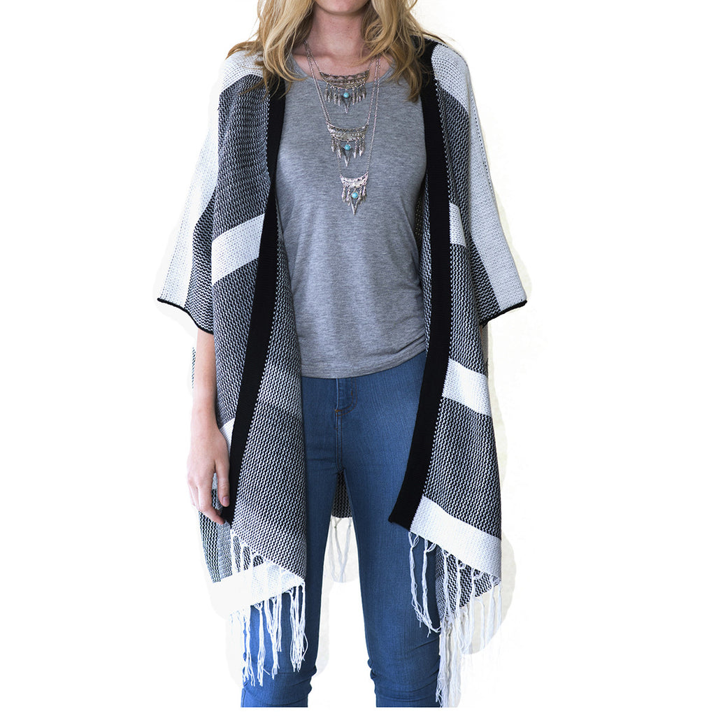 Audrey and Olive 3+1 maternity clothes poncho open cardigan sweater black and white with fringe