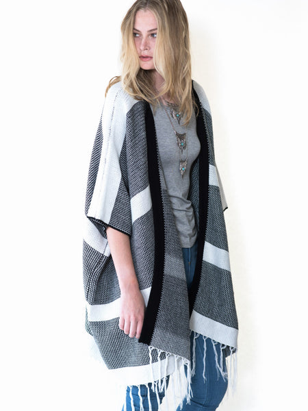 Black and White wide striped open poncho wrap cardigan sweater by Audrey and Olive stylish maternity clothes