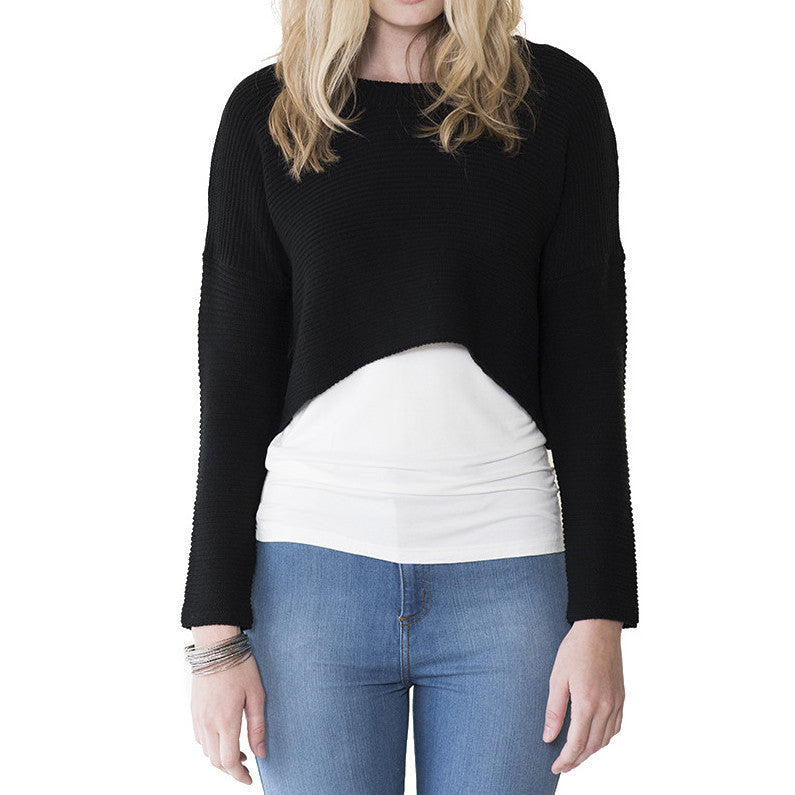 Audrey and Olive 3+1 Maternity clothes cropped cable knit sweater