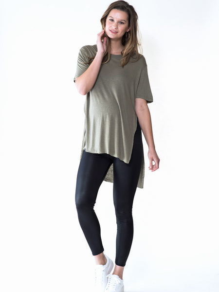 Maternity t-shirt with high low hem and side split slit by Audrey and Olive clothing