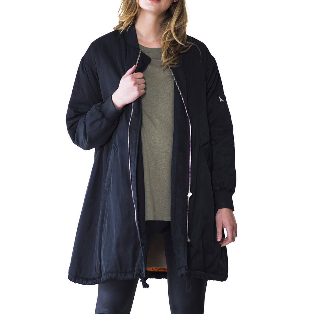 Audrey and Olive 3+1 maternity clothes oversized long bomber jacket coat a-line winter black or military green