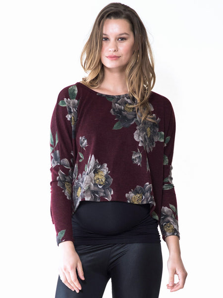 Maternity cropped floral sweater by Audrey and Olive clothing