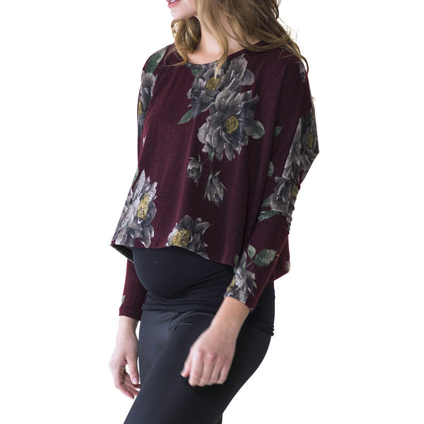 Audrey and Olive 3+1 maternity clothes crop cropped half sweater top floral burgundy or blue turquoise