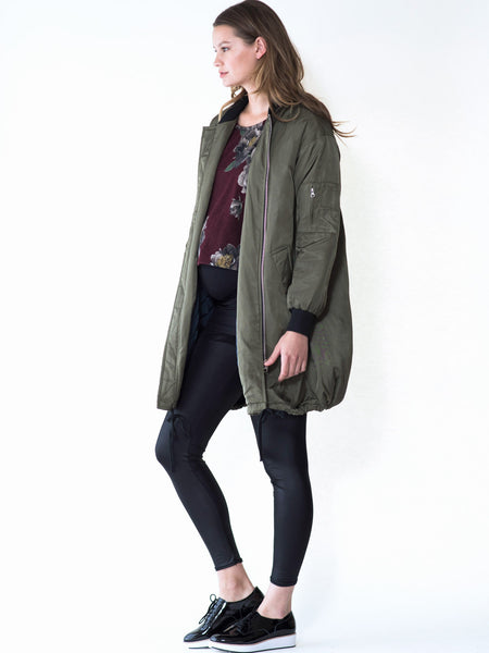 Maternity coat in a long bomber style, oversized by Audrey and Olive maternity clothes