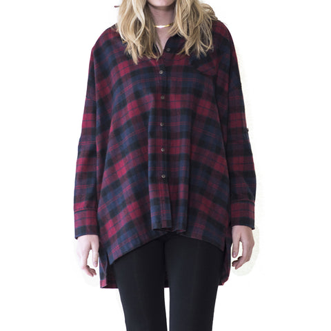 Hana Plaid Flannel - maternity friendly