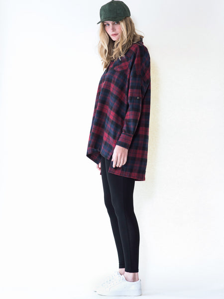 Oversized red or green plaid flannel shirt by Audrey and Olive maternity clothes