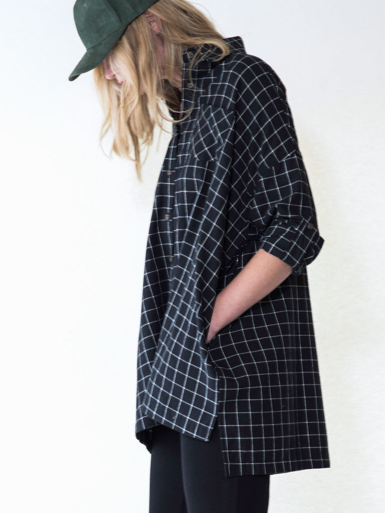 Black and white checkered oversized flannel shirt by Audrey and Olive stylish maternity clothes