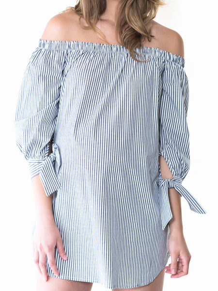 Maternity off the shoulder blouse shirt dress by Audrey and Olive clothing