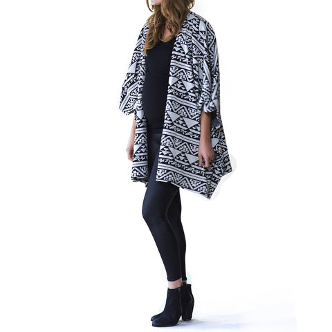 Graphic Aztec Poncho Sweater - maternity friendly