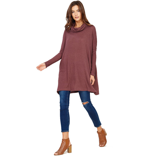 Audrey and Olive maternity Edie turtleneck sweater dress burgundy