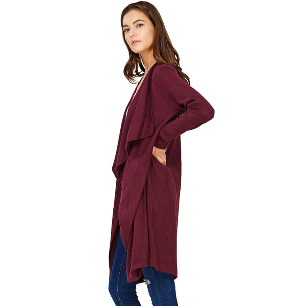 Audrey and Olive maternity Sophie drapey cardigan sweater burgundy