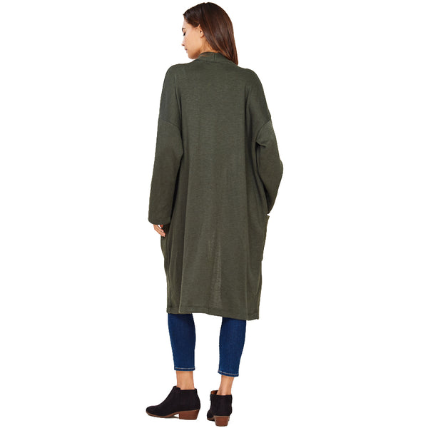 Audrey and Olive maternity Anna pocket cardigan sweater coat military olive green