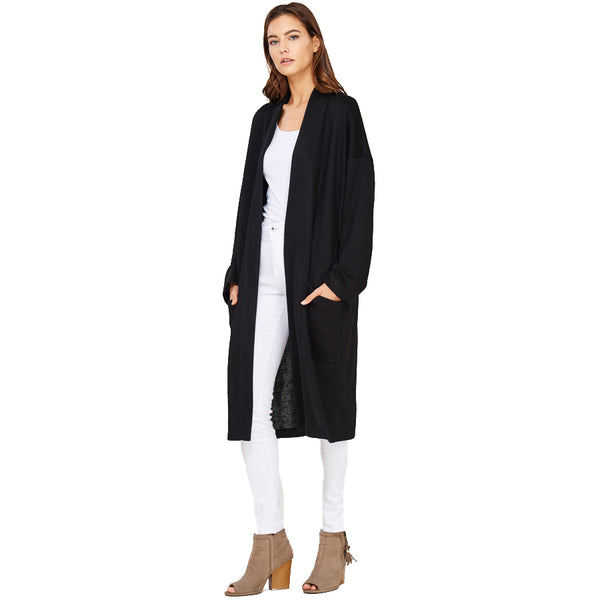 Audrey and Olive maternity Anna pocket cardigan sweater coat black