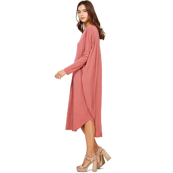 Audrey and Olive maternity ribbed midi dress pink