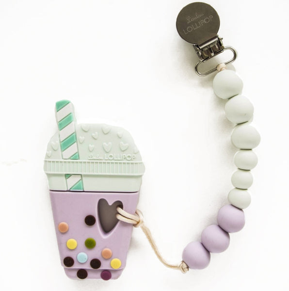 Loulou Lollipop silicone teether holder set boba bubble tea pink purple taro baby babies audrey and olive maternity clothes shop the woods san francisco