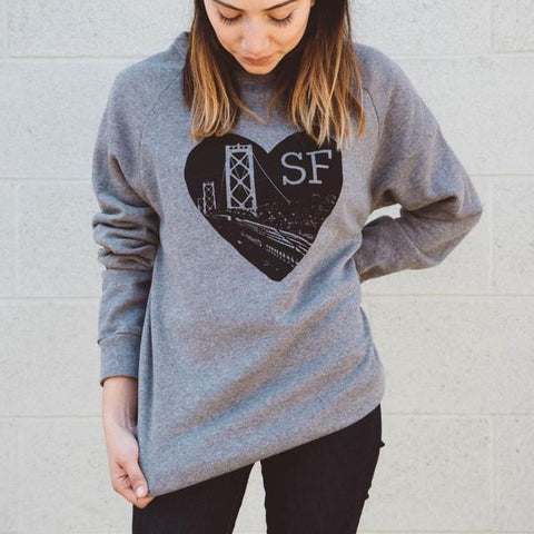 Kira Kids heather grey heart sf sweatshirt adult baby babies audrey and olive maternity clothes shop the woods san francisco